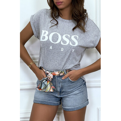 Tee shirt gris manches revers BOSS LADY