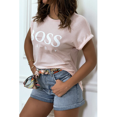Tee shirt rose manches revers BOSS LADY